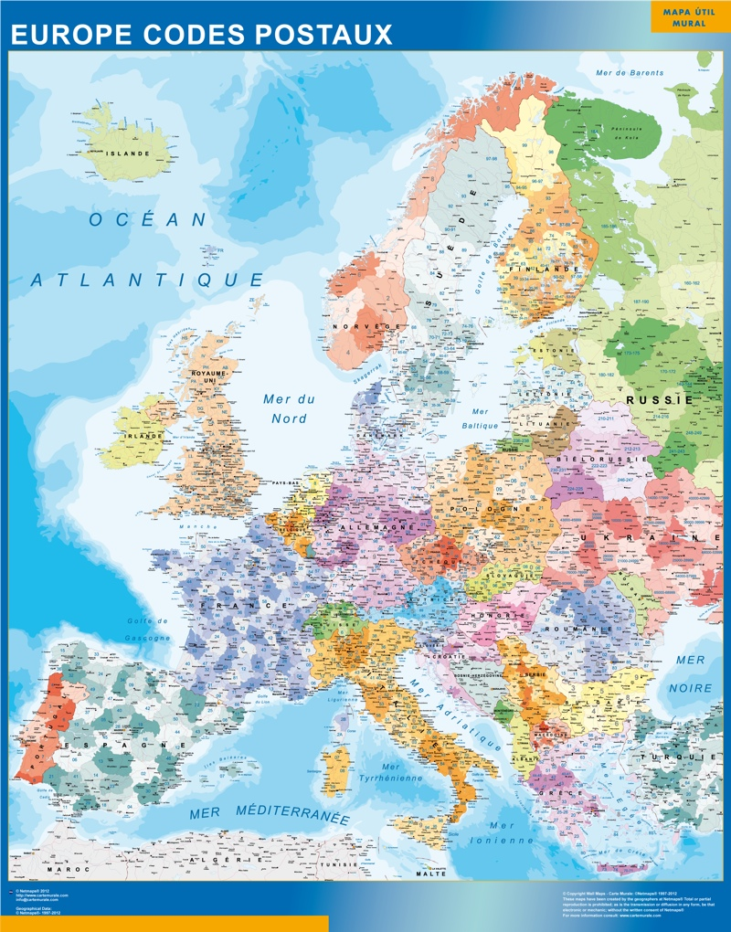 Carte Europe Codes Postaux